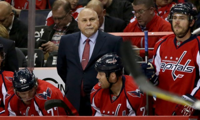 March 28 2016: Caps head coach Barry Trotz during a NHL game at Verizon Center, in Washington D.C. The Washington Capitals defeated the Columbus Blue Jackets 4-1. (Photo by Tony Quinn/Iconsportswire.com)