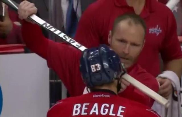jay-beagle-washington-capitals-stick-through-helmet