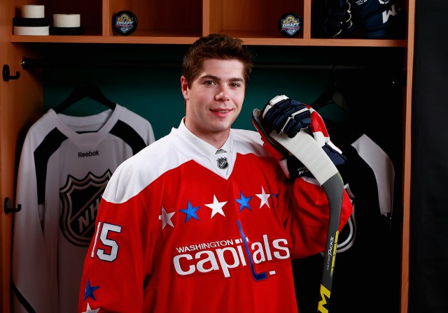 SUNRISE, FL - JUNE 27: Connor Hobbs poses for a portrait after being selected 143rd overall by the Washington Capitals during the 2015 NHL Draft at BB&T Center on June 27, 2015 in Sunrise, Florida. (Photo by Jeff Vinnick/NHLI via Getty Images)