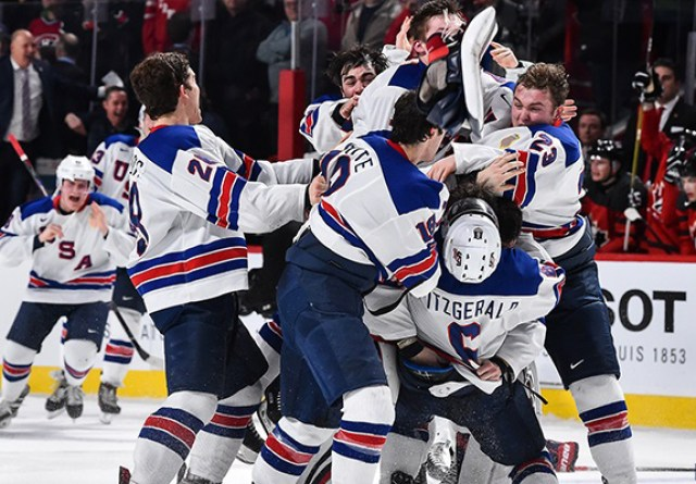 MONTREAL, QC - JANUARY 05: Team United States celebrate as they win gold during the 2017 IIHF World Junior Championship gold medal game against Team Canada at the Bell Centre on January 5, 2017 in Montreal, Quebec, Canada. (Photo by Minas Panagiotakis/Getty Images)
