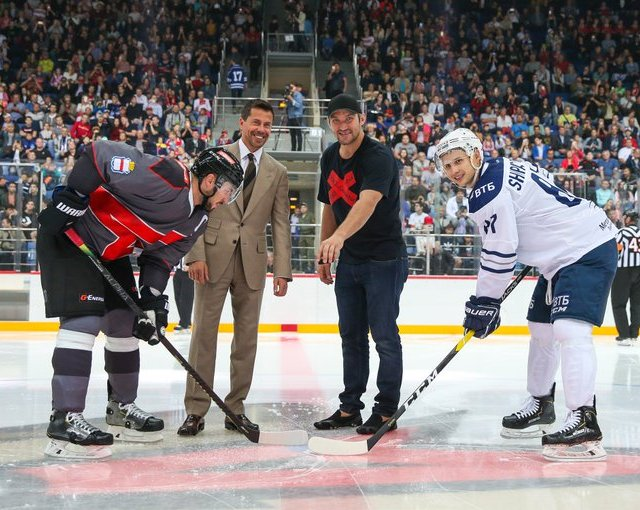 Ovi Ceremonial Faceoff Omsk Dynamo