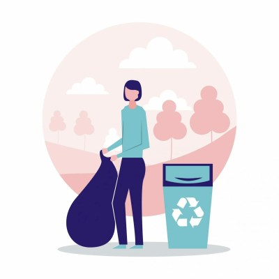 volunteers help woman holding bag recycling vector illustration