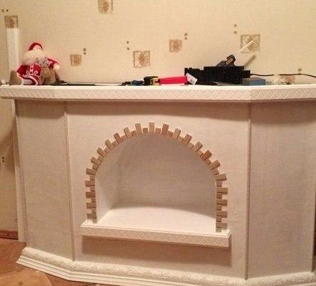 False fireplace from cardboard box