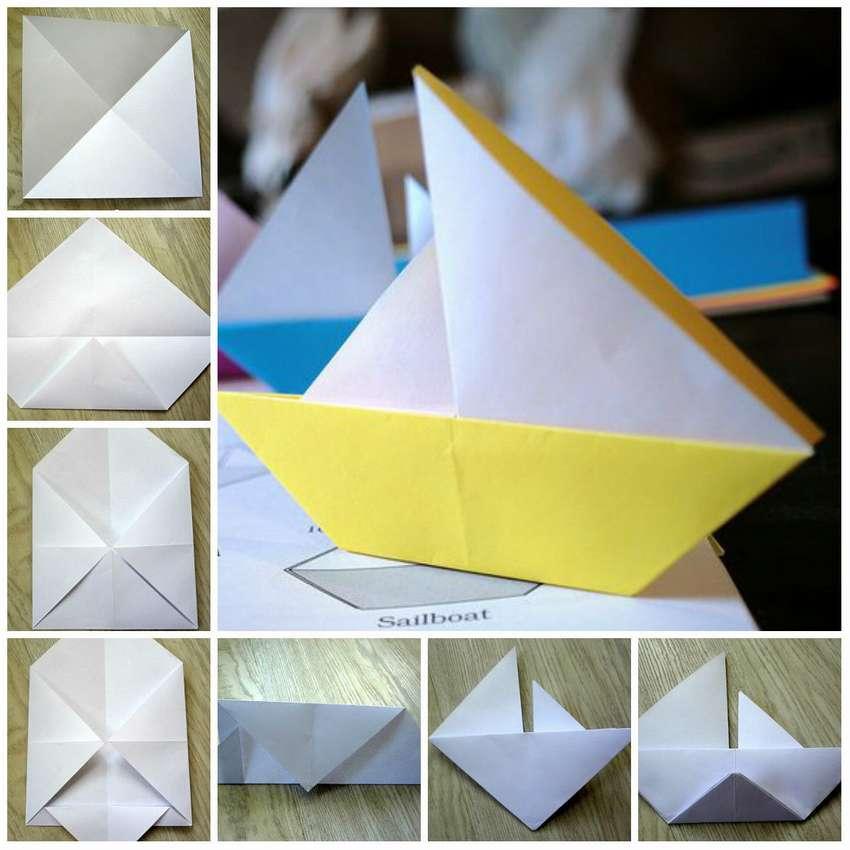 оригами парусник схема