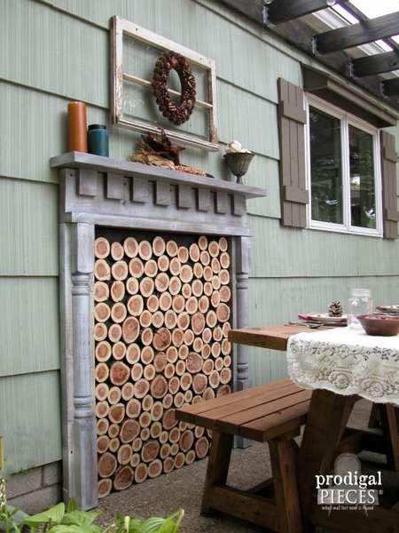 фальш камин с имитацией дров