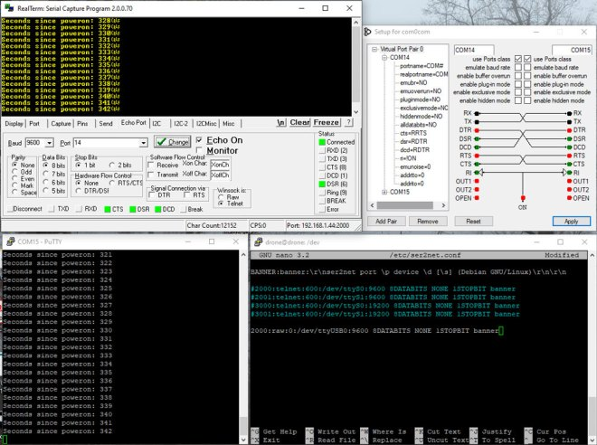 com0com and RealTerm combined - Echo Port Tab Configuration