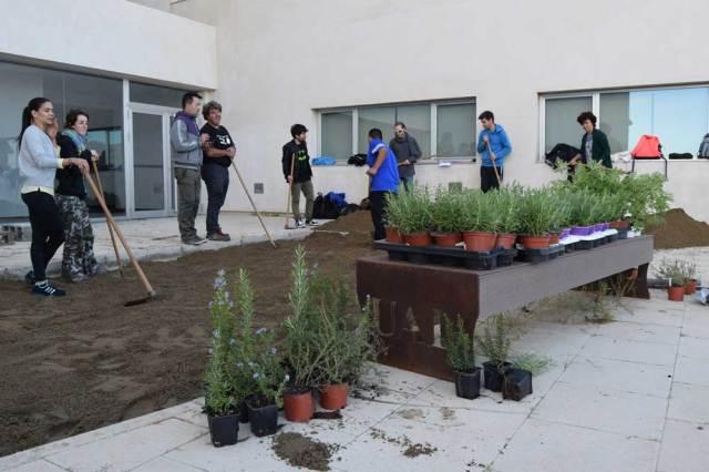 Varios voluntarios trabajan en el Jardín de las Plantas Aromáticas de la UAL.