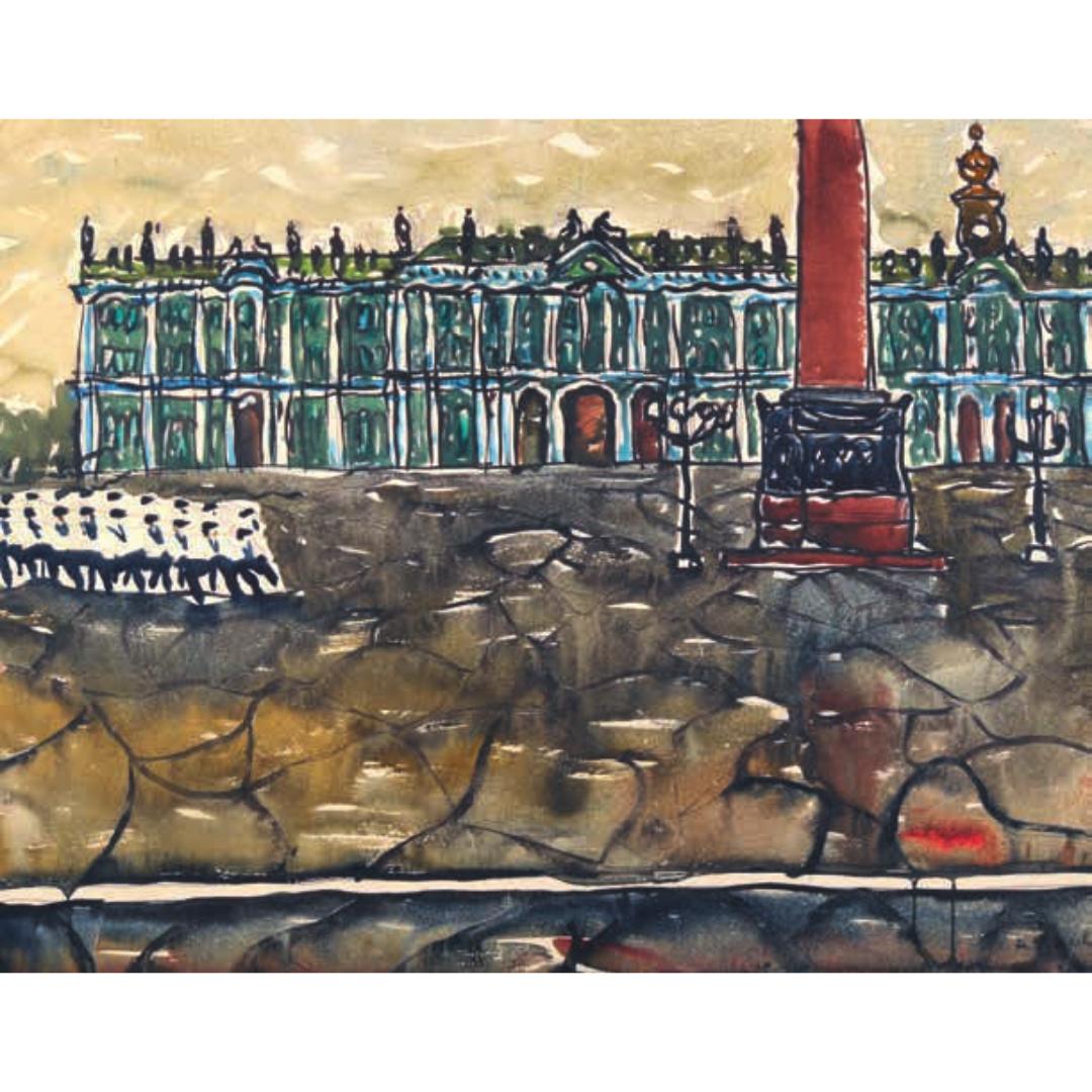 Kartina pejzazh Leningrad Dvorcovaya ploshchad' Pozdeev