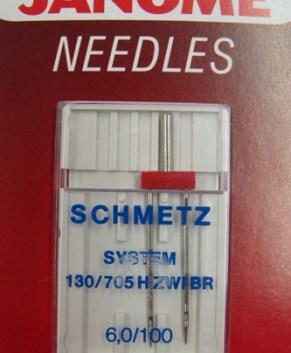SCHMETZ TWIN NEEDLE - 6MM (1 PER PACKET )