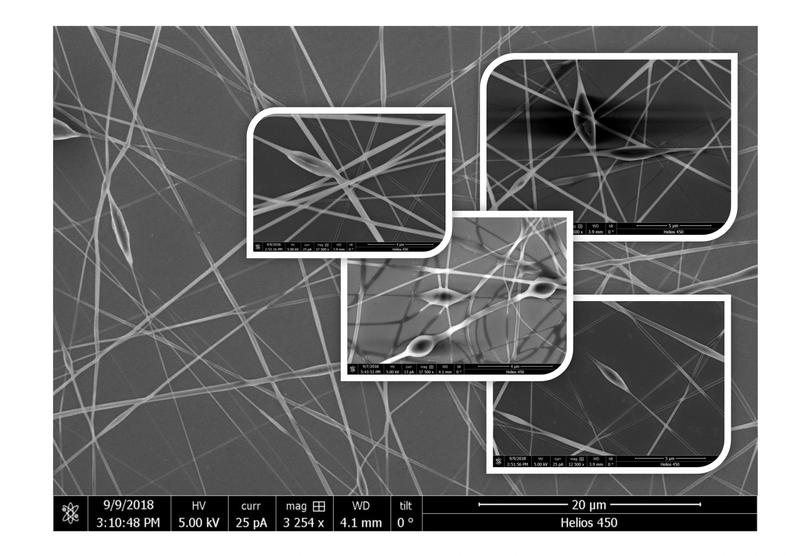 3- SEM images of PVA nanofibers with Graphene nanoparticles