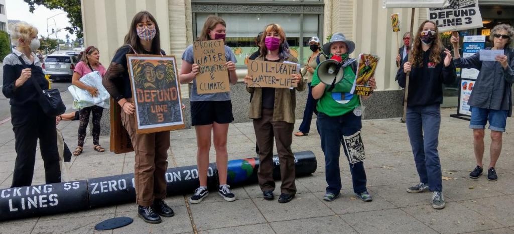 Defund Line 3 demonstration 13 Aug 2021, Santa Cruz, California