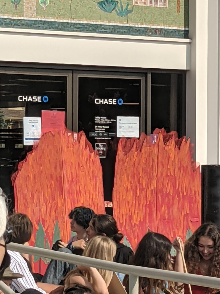 Youth for Climate Justice action 9-24: Flames at Chase
