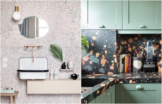 Терраццо часто используют для отделки стен в ванной и фартука на кухне.