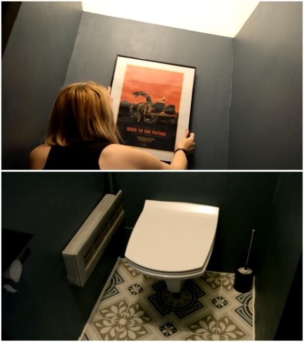 Последние штрихи - и ремонт в туалете можно считать завершенным.