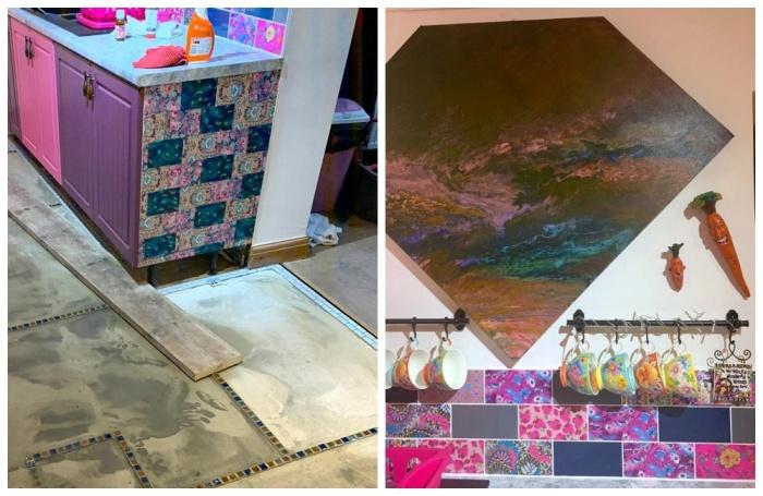 Соня Бартон собственноручно перекрасила дверцы в любимый цвет, разрисовала кафель и сделал декупаж на торцах гарнитура.   Фото: storytrender.com.