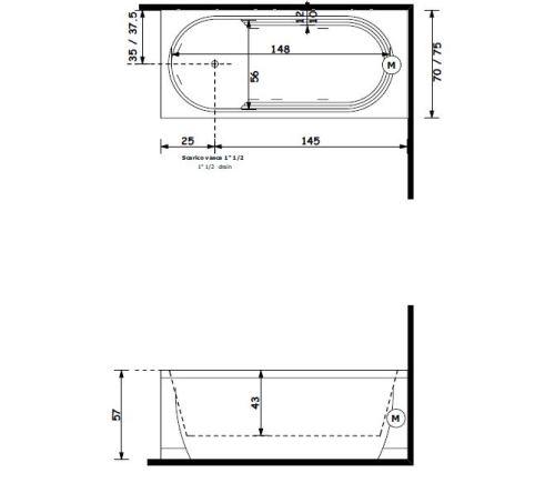 Treesse-vasca-idromassaggio-rettangolare-tecnico