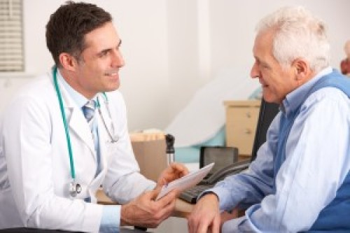 Doctor talking with patient about NovaVision