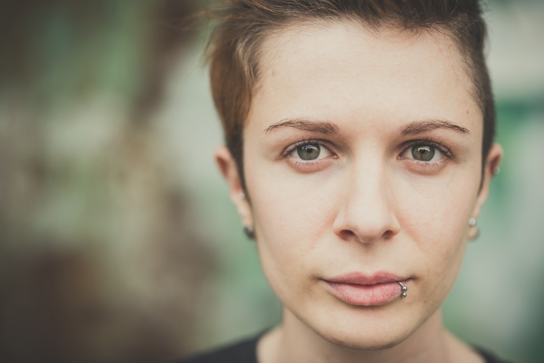 woman with lip ring