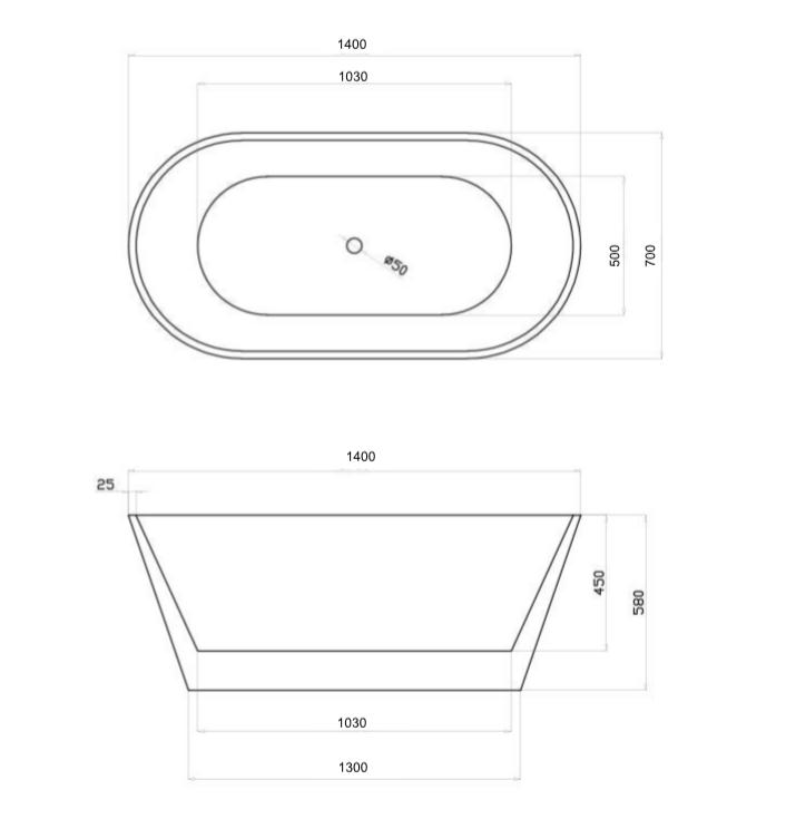 baignoire ilot ovale en acrylique noire