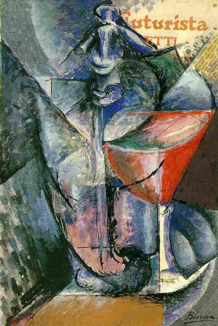 """Umberto Boccioni, """"Sifone da seltz e bicchiere"""", 1914"""