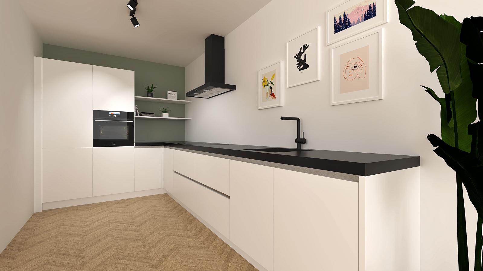 witte-keuken-met-zwart-werkblad