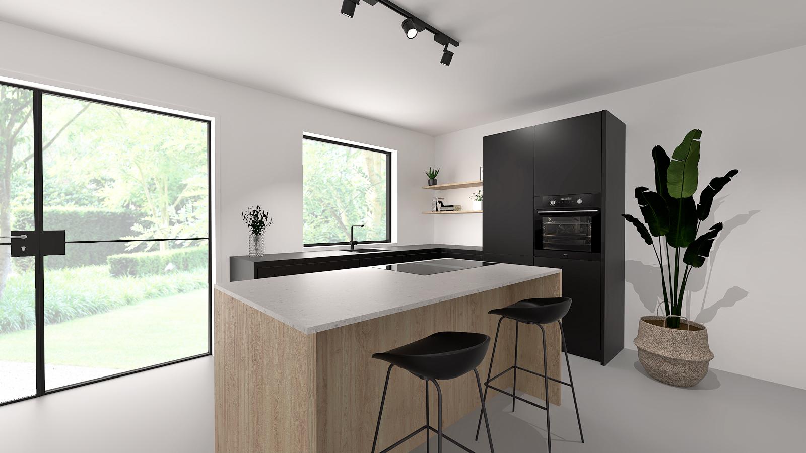 houten-keuken-eiland-zwart