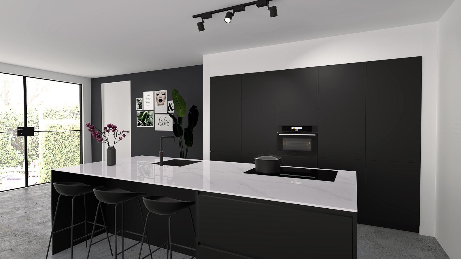 Zwarte greeploze keuken met Quooker