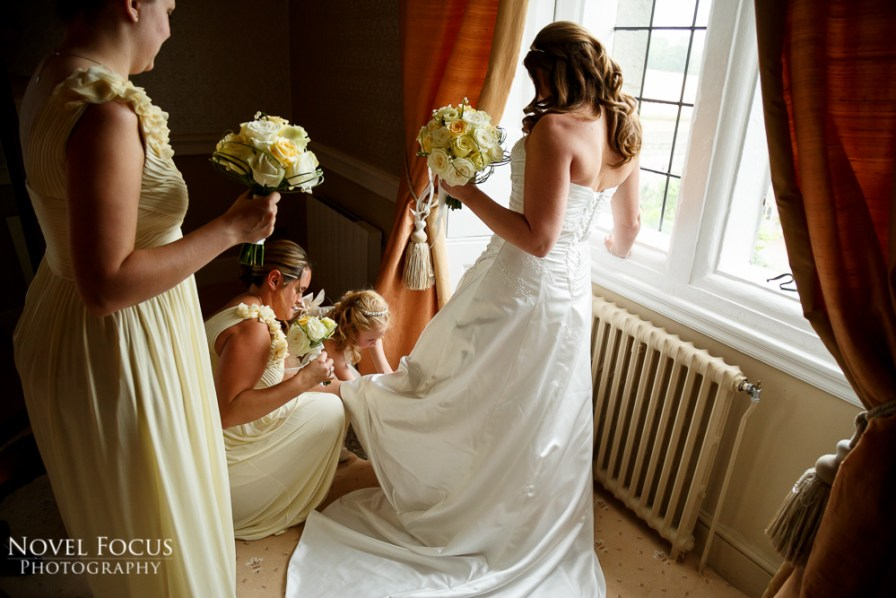 bride on wedding day at clearwell castle