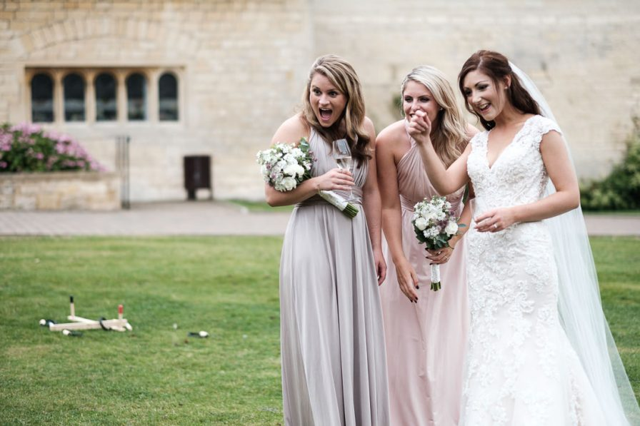bridesmaids with bride after ceremony at ellenborough park