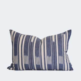 Ikat Blue Stripe   Cushion Cover   60x40cm
