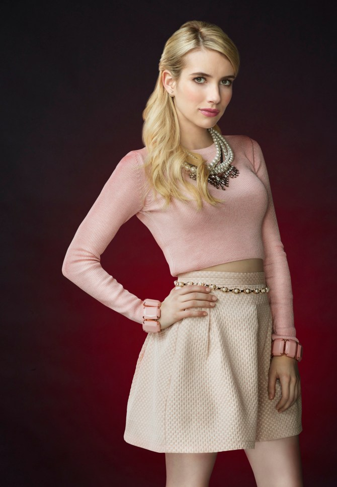 SCREAM QUEENS: Emma Roberts as Chanel Oberlin in SCREAM QUEENS which debuts with a special, two-hour series premiere event on Tuesday, September 22 (8:00-10:00 PM ET/PT) on FOX. ©2015 Fox Broadcasting Co. Cr: Matthias Clamer/FOX.