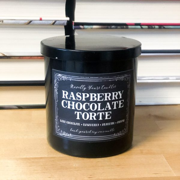 scented soy wax candle by novelly yours featuring scents of chocolate and raspberry