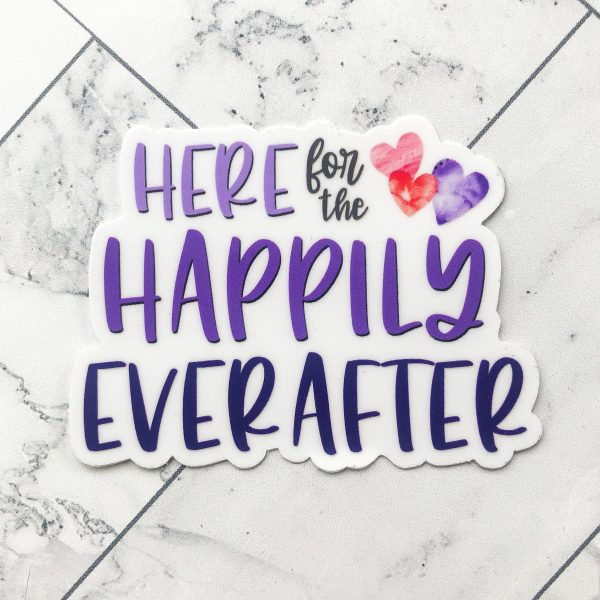 typography sticker saying here for the happily ever after in purples with watercolor red and pink hearts