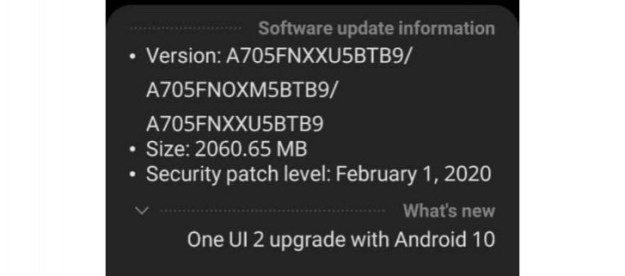 Samsung Galaxy A70 receives Android 10 update with One UI 2.0