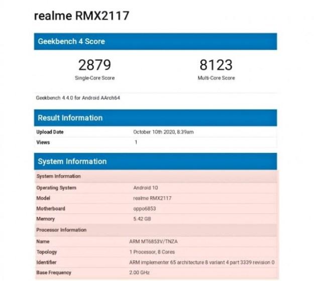 Relame Q2 GeekBench run
