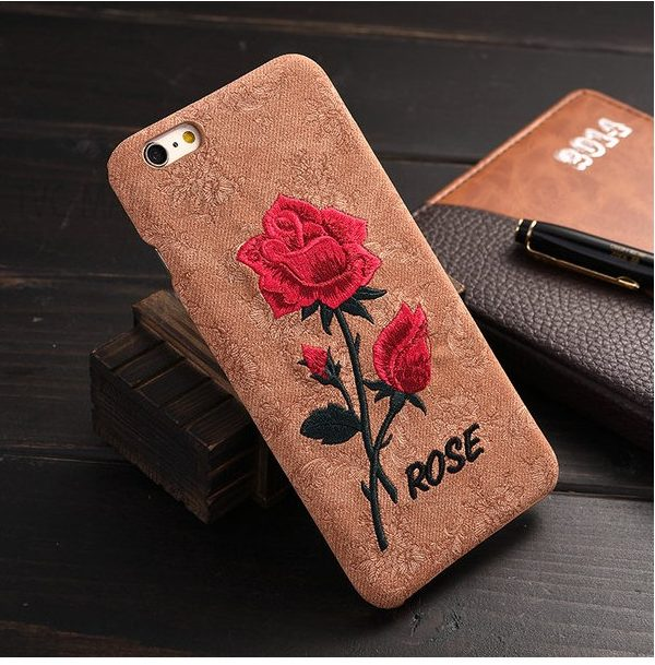 Embroidery Rose Phone Case for iPhone 6s 6