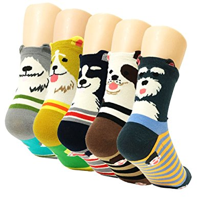 Carton Cotton Dog Crew Socks