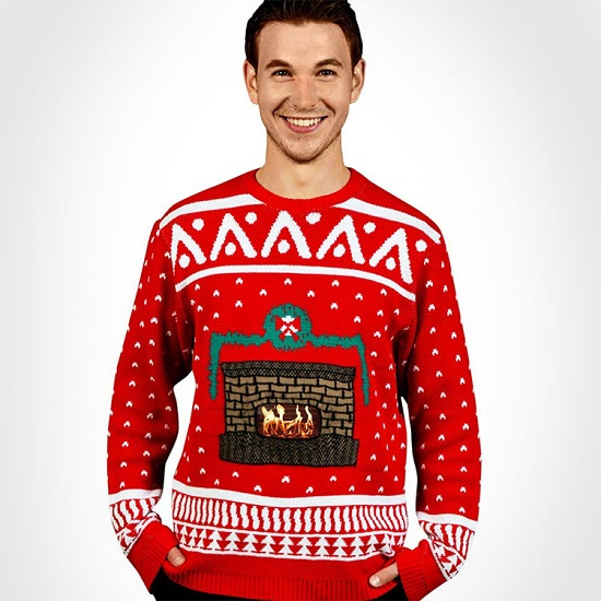 Ugly Christmas Sweater Uses Your Smart Phone To Display An Animated Fireplace