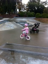 bike riding at the skate park