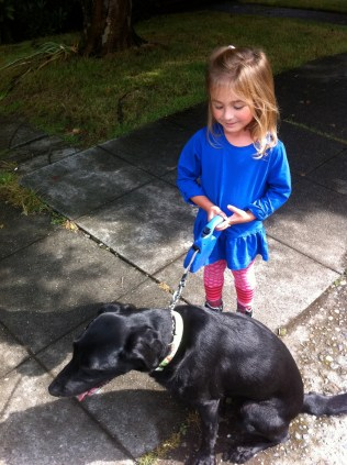 Ada loves walking the dog