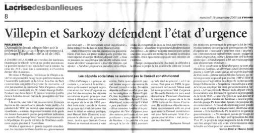 16.11.2005 - Sarko, Villepin et l'état d'urgence, Le Figaro