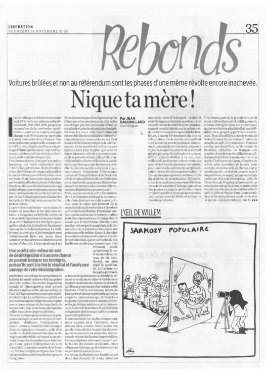 18.11.2005 - Nique ta mère !, Libération