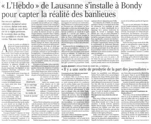 18.12.2005 - L'Hebdo de Lausanne s'installe à Bondy, Le Monde