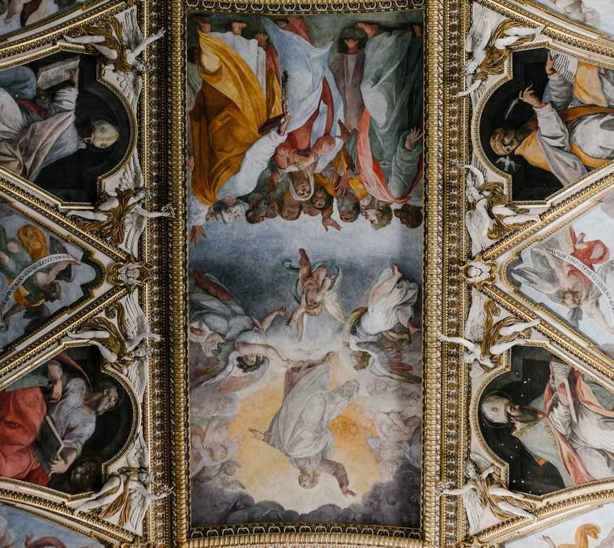 fresco paintings o ceiling in cathedral