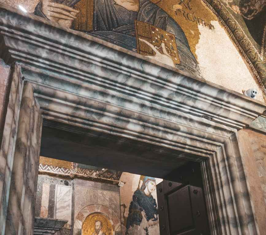 religious paintings inside building