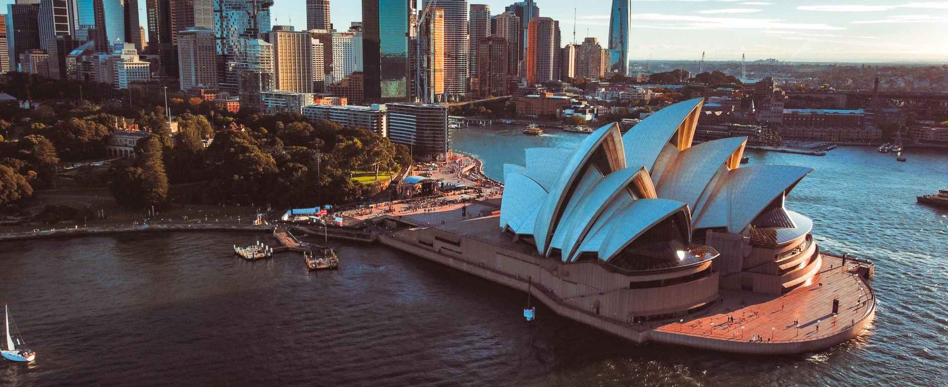 drone shot of the famous sydney opera house in australia
