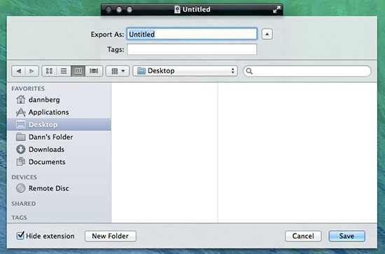 Quicktime save file to desktop