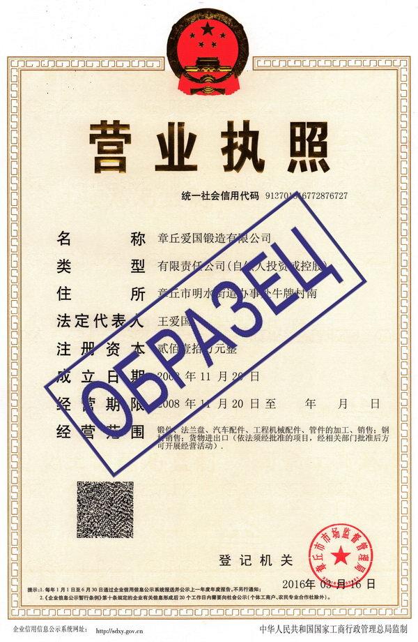 образец бизнес-лицензии китайской компании