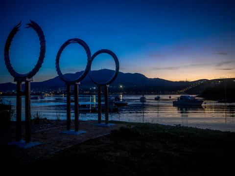 The Tasman Bridge memorial, by local artists Kelly Eijdenberg and Travis Tiddy