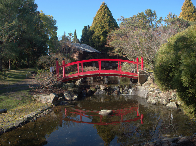 The red bridge at Hobart's Royal Tasmanian Botanical Gardens